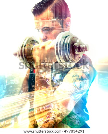 Healthy life and gym exercise.Gym equipment and sport concept.Strong and motion background.Dumbbells.Double exposure.