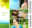 healthy life collage made in the forest with bottle of water - stock photo