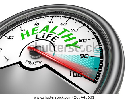 Healthy life conceptual meter indicate hundred per cent, isolated on white background - stock photo