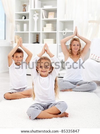 Healthy life education concept with kids and woman