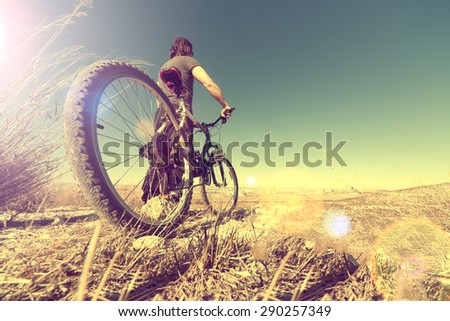 Healthy life.Sport and bike in vintage style.Landscape and bicycle - stock photo
