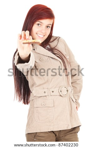 healthy lifestyle, beautiful teenage girl eating granola bar, white background - stock photo