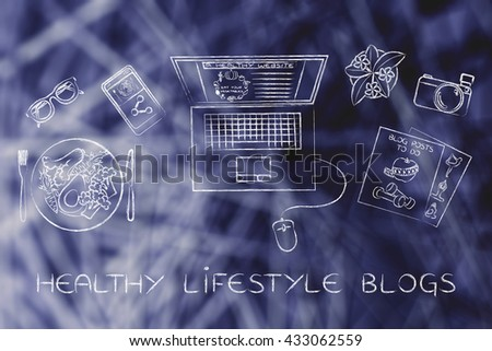 healthy lifestyle blogs: desk with healthy recipe, fitness documents and personal blog website on laptop's screen