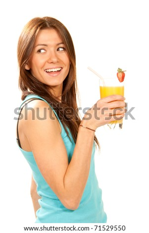 Healthy lifestyle brunette woman drinking orange juice cocktail with strawberry with drinking straw in highball glass isolated on a white background - stock photo