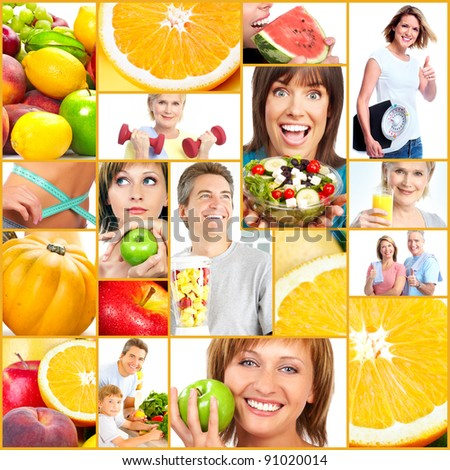 Healthy lifestyle collage. People, diet, healthy nutrition, fruits, fitness - stock photo
