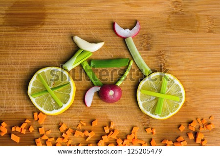 Healthy lifestyle concept - vegetable bike - stock photo