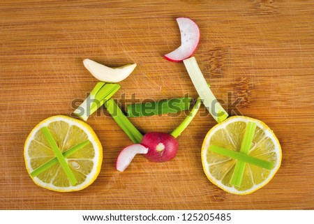 Healthy lifestyle concept - vegetable bike - stock photo