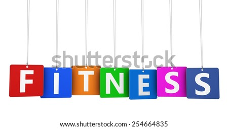 Healthy lifestyle concept with fitness sign and word on colorful hanged tags design for gym and training business isolated on white background. - stock photo