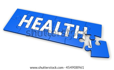 Healthy lifestyle developing concept with health sign and word on a blue puzzle 3D illustration.