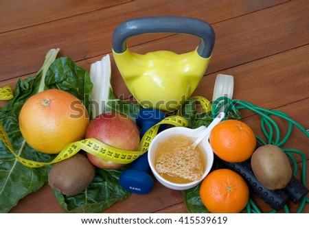 healthy lifestyle - food and fitness props