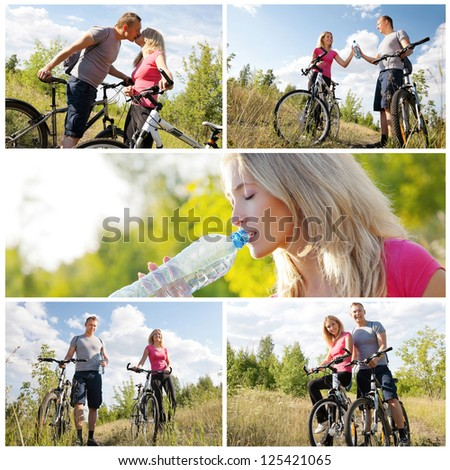 Healthy lifestyle: happy couple working out - stock photo