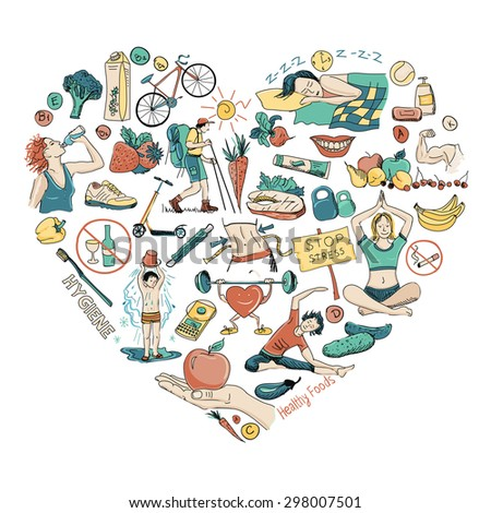 Healthy Lifestyle Heart Background - stock photo