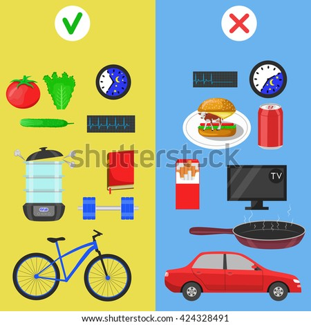 Healthy lifestyle icons. Food and hobby. Color flat illustration - stock photo