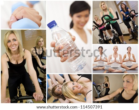 Healthy lifestyle montage of beautiful women, relaxing, working out, smiling and exercising together at a gym - stock photo