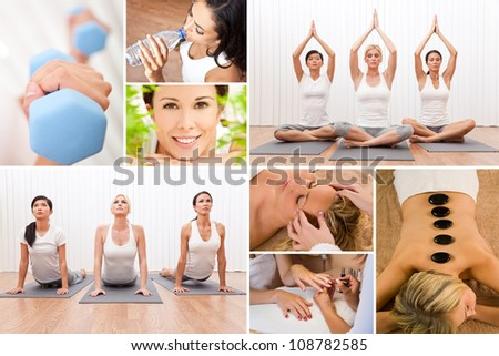 Healthy lifestyle montage of beautiful women, relaxing, working out, smiling at a health spa - stock photo