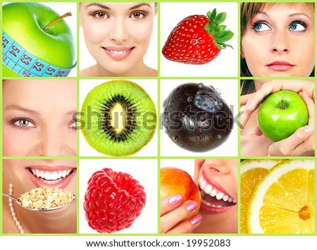 Healthy lifestyle. People, diet, healthy nutrition, fruits - stock photo