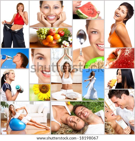 Healthy lifestyle. People, diet, healthy nutrition, fruits,  fitness - stock photo