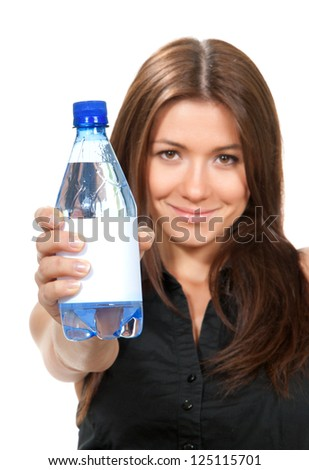 Healthy lifestyle weight loss concept. Woman showing drinking water isolated on a white background - stock photo