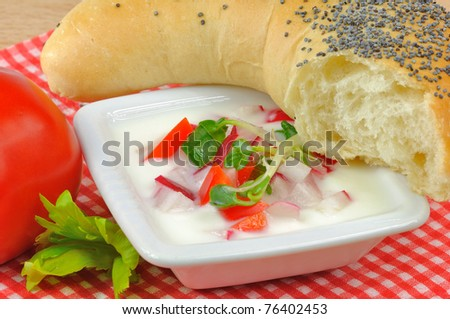 HEALTHY, LIGHT BREAKFAST YOGURT with sprouts and fresh vegetables - stock photo