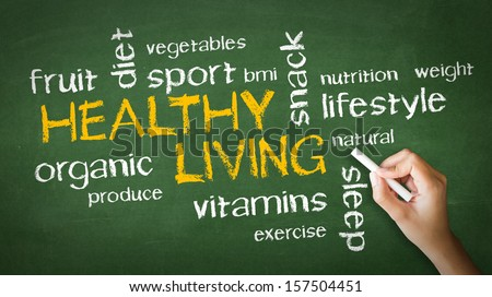 Healthy Living Chalk Drawing - stock photo