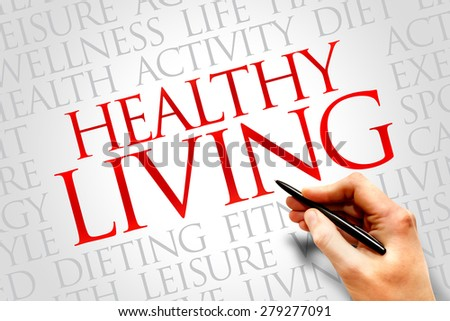 Healthy Living word cloud, health concept