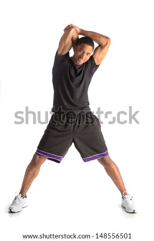 Healthy Looking Happy Young African American Male Athlete Ready Workout - stock photo