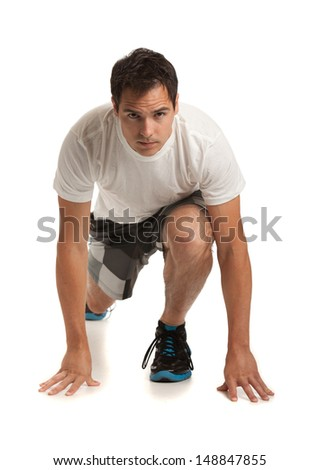 Healthy Looking Happy Young Male Ready Workout on Isolated White Background - stock photo
