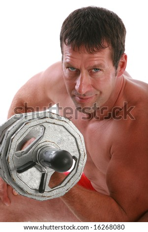 Healthy Looking Man Exercising with Weight Lifting - stock photo