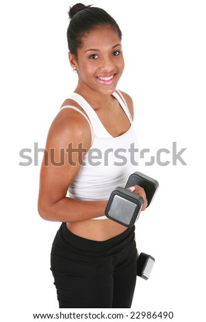 Healthy Looking Young African American Female Lifting Weight on Isolated Background - stock photo
