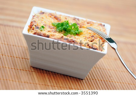 Healthy low-calorie vegetarian lasagna. - stock photo