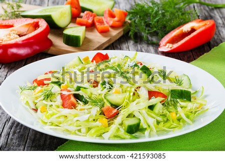 Healthy low calories spring cabbage salad with bell pepper, corn, cucumber and dill, seasoned with olive oil on a white dish. cutting board with chopped veggies on the background,  close-up