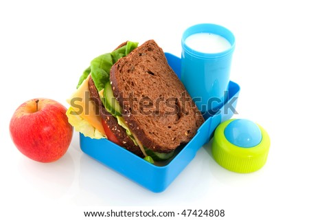 Healthy lunch box filled with bread for take away - stock photo