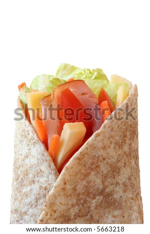 Healthy lunch, ham, cheese and vegetables wrapped in a whole wheat tortilla. - stock photo