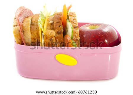 Healthy lunch in pink box isolated over white - stock photo