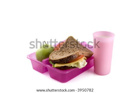 Healthy lunchbox with whole-meal bread, fruit and milk - stock photo