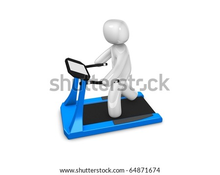 Healthy man running in treadmill, Isolated on white background. - stock photo