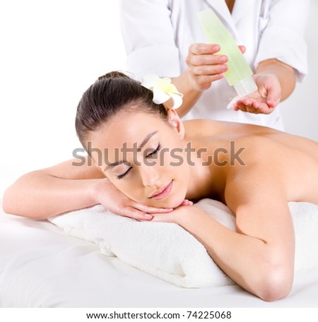 Healthy  massage for young woman with aromatic oils - horizontal - Beauty treatment