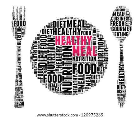 Healthy meal concept in word collage - stock photo