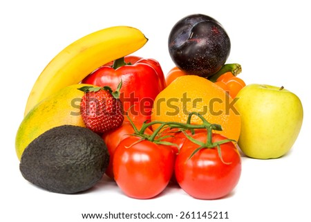 Healthy mix fruits and vegetable still life isolated on white background - stock photo