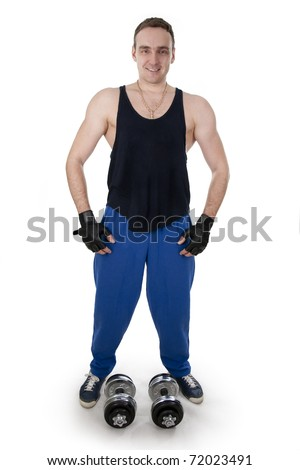 Healthy muscular bodybuilder exercising with dumbbels.White isolated. - stock photo