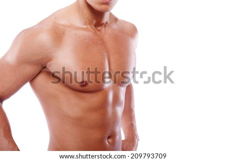 Healthy muscular young man isolated on white background - stock photo