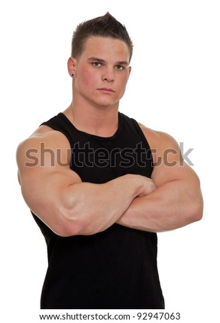 Healthy, muscular, young man on a white background.