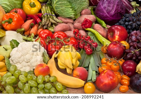 Healthy natural food background / food photography of the variety of fruits at the market