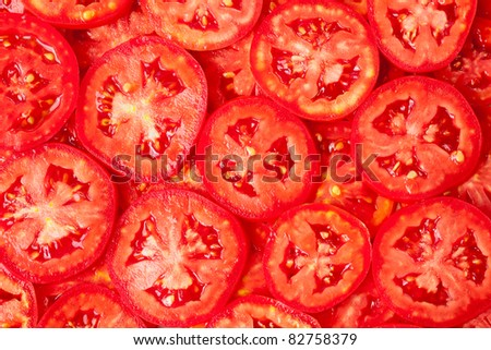 Healthy natural food, background. Tomatoes slices. More background of fruits and vegetables in my portfolio. - stock photo