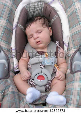 Healthy Newborn Infant Baby Sleeping in Car Seat - stock photo
