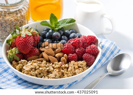 healthy nutritious breakfast with cereal and berries, closeup - stock photo