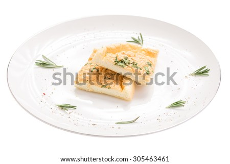 Healthy omelette  isolated on white background - stock photo