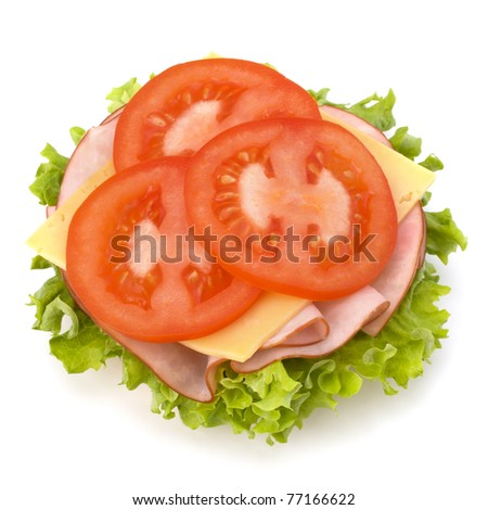 Healthy open sandwich with lettuce, tomato, smoked ham and cheese isolated on white background - stock photo