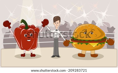 Healthy or unhealthy food - stock photo