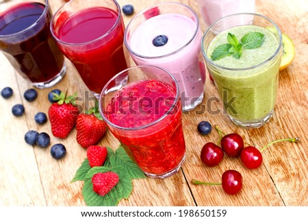 Healthy organic drinks - stock photo
